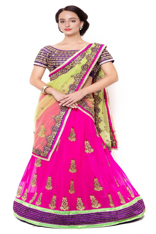 Embellishments Faux Georgette Saree (Sari) in Pink