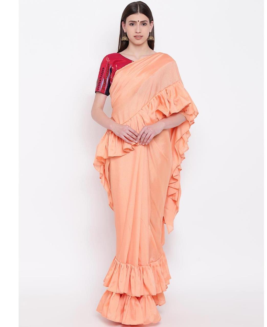 Plain Silk Saree (Sari) in Orange