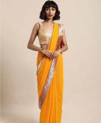 Stones Georgette Saree in Yellow