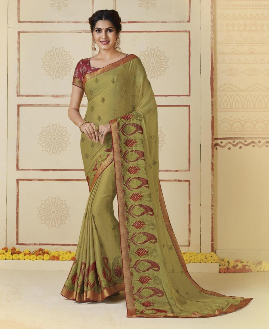 Embroidered Chiffon Saree in Mehndi Green