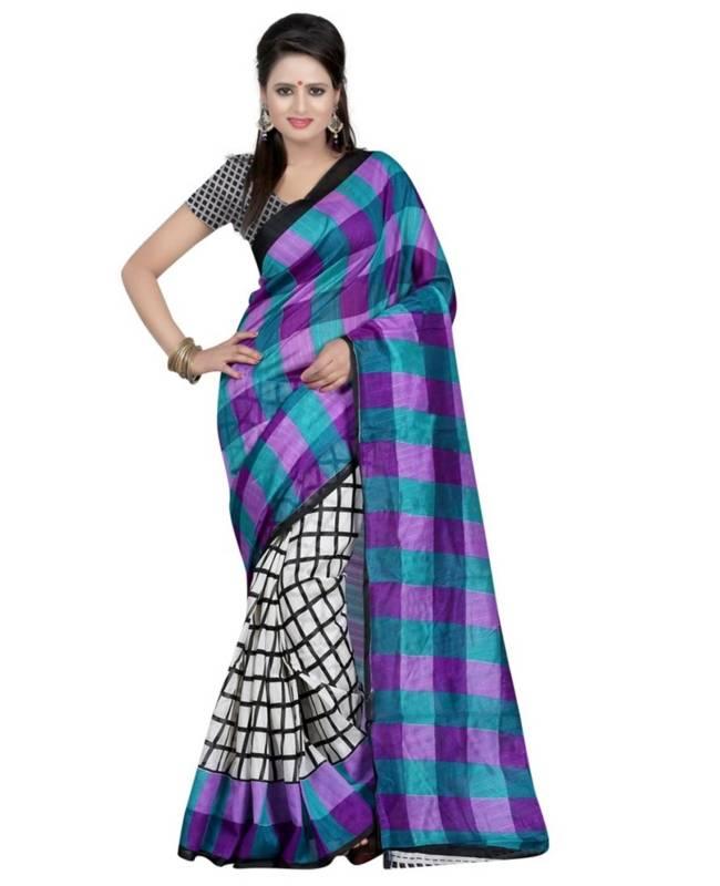 Printed Bhagalpuri Silk Saree (Sari) in Multi Colour