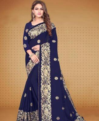 Printed Silk Saree in Navyblue