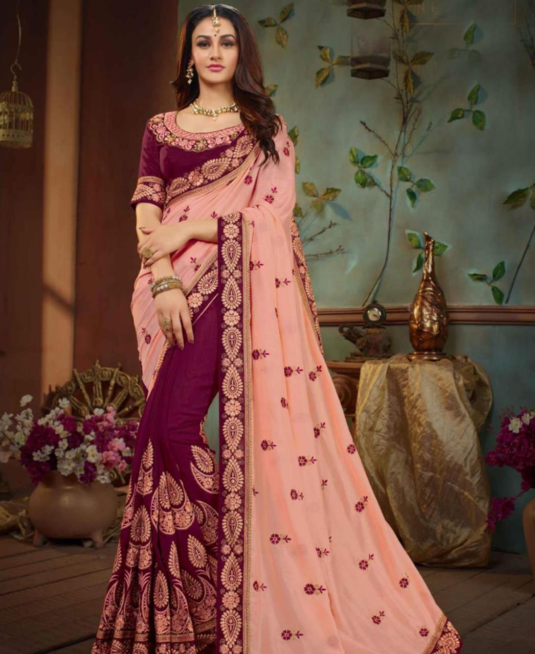 Embroidered Silk Saree (Sari) in PeachPuff