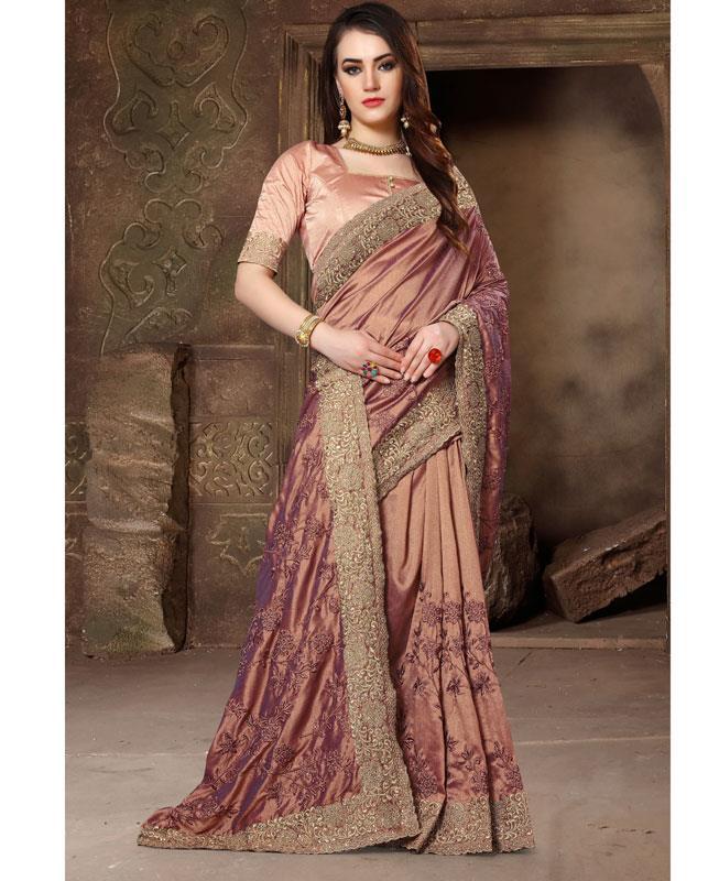 Embroidered Silk Saree (Sari) in Mistyrose