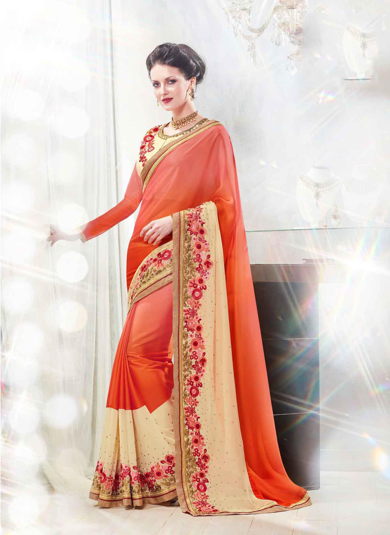 Embroidered Faux Georgette Saree (sari) in Orange