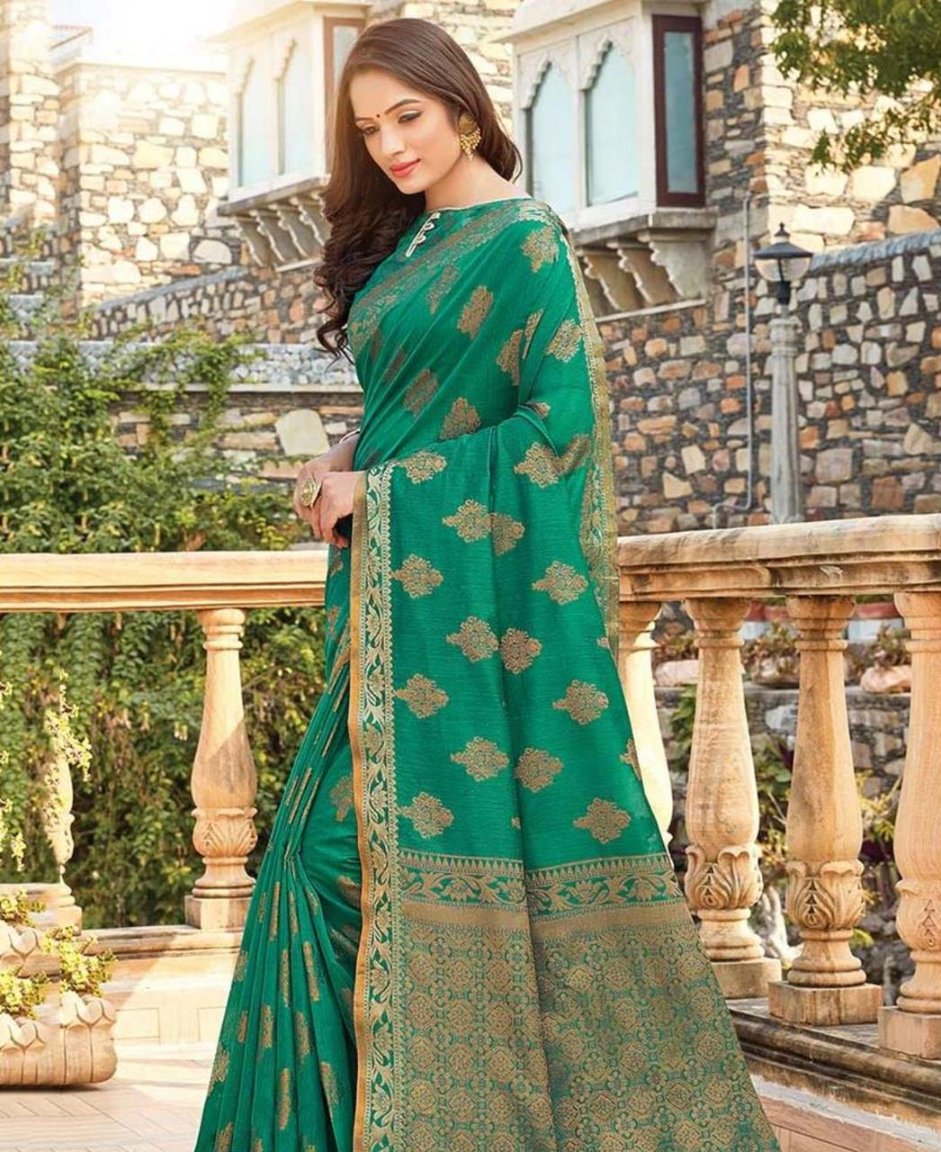 HandWorked Cotton Saree in Green