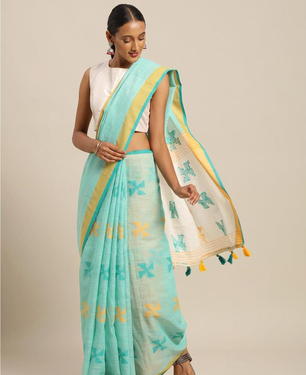 Cotton Saree in Sky Blue
