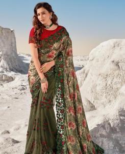 HandWorked Silk Saree in Mahendi