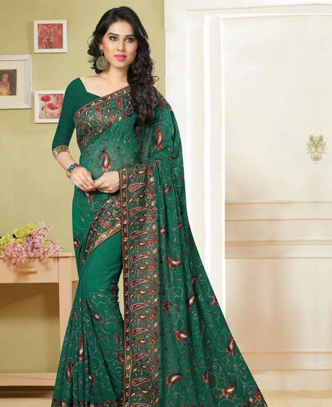 Butta Work Georgette Saree (Sari) in Green
