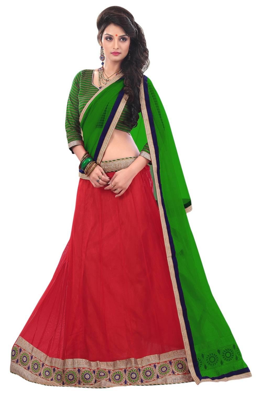 Border Work Net Saree (Sari) in Red