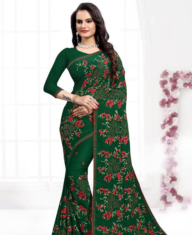 Resham Satin Saree in BOTTEL GREEN