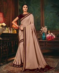 Lace Silk Saree in Cream