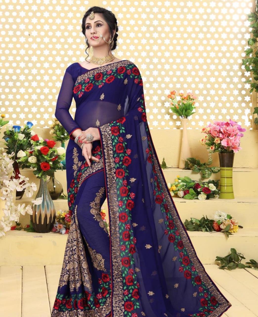 Resham Georgette Saree (Sari) in DarkBlue
