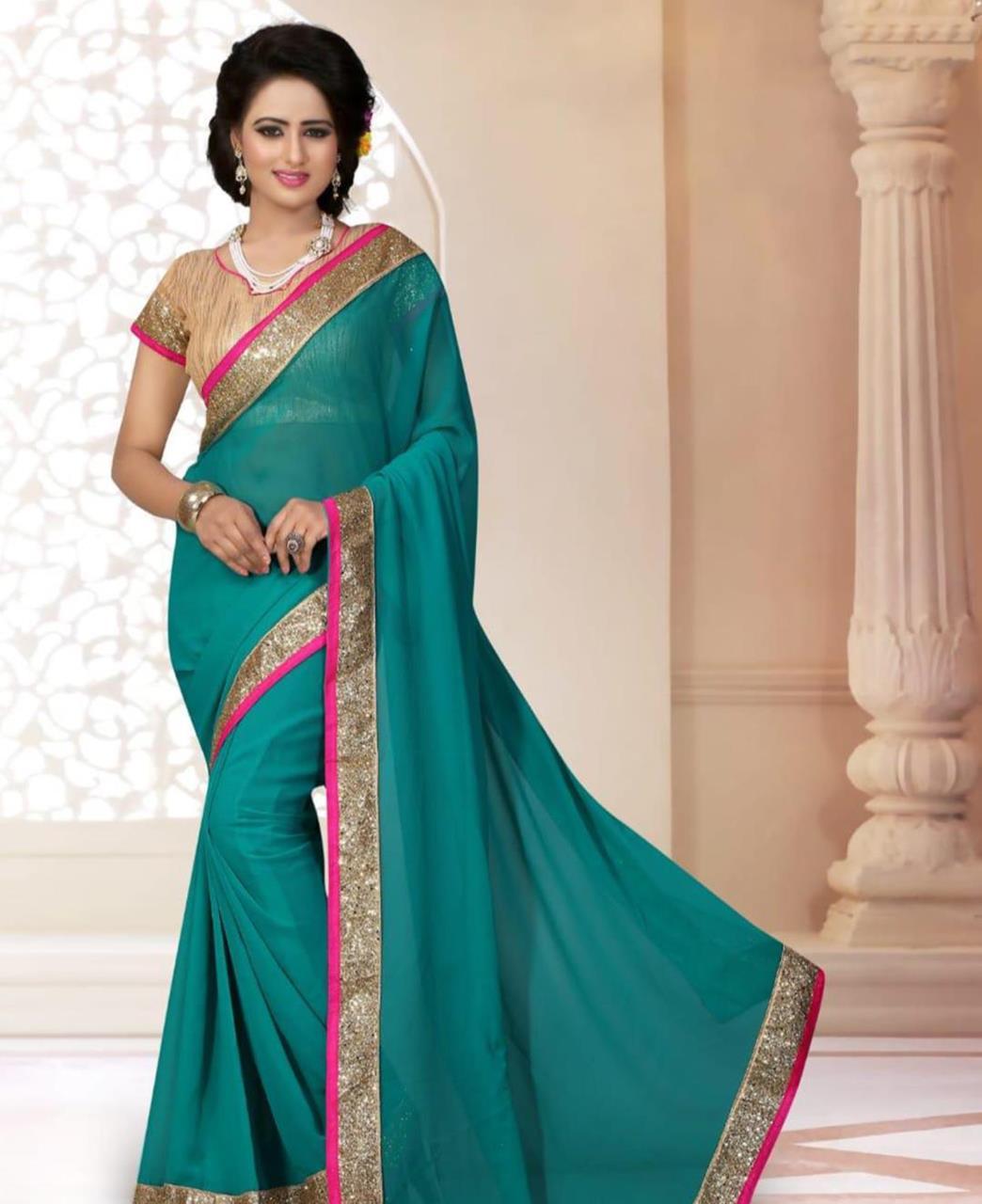 Lace Georgette Saree (Sari) in SKYBLUE