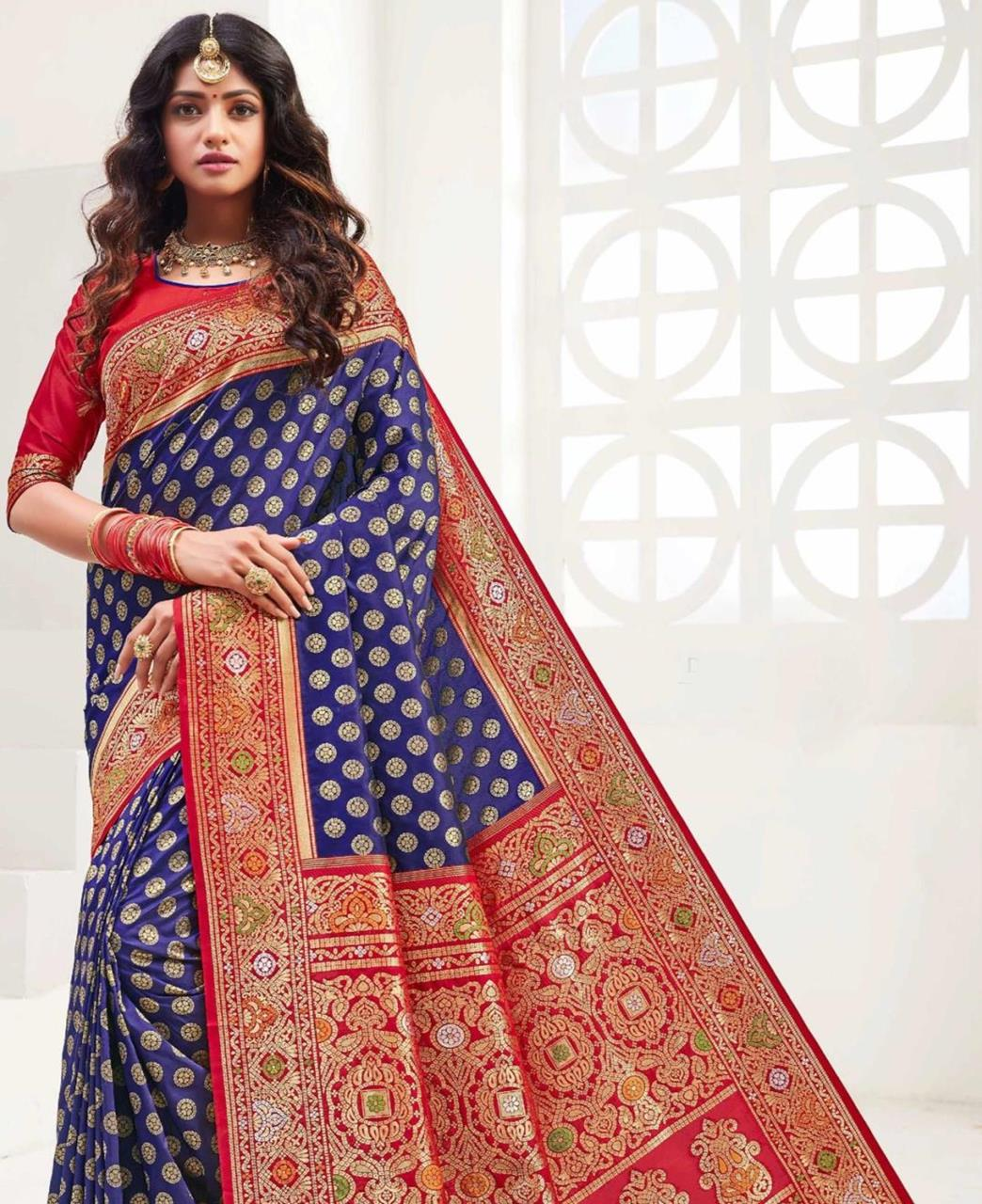 Printed Silk Saree in Blue
