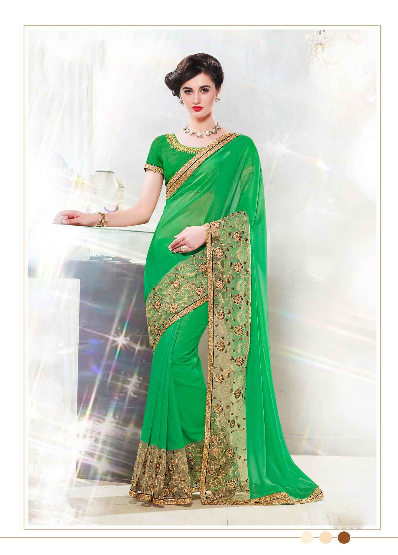 Embroidered Faux Georgette Saree (sari) in Green