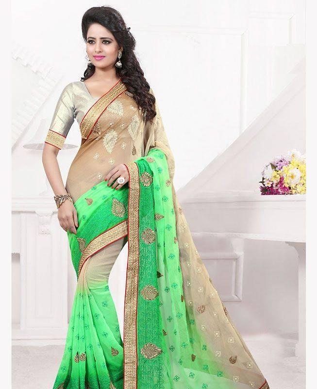 Butta Work Chiffon Saree (Sari) in Green