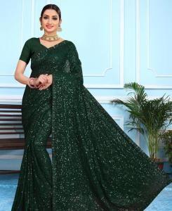 Sequins Georgette Saree in Green