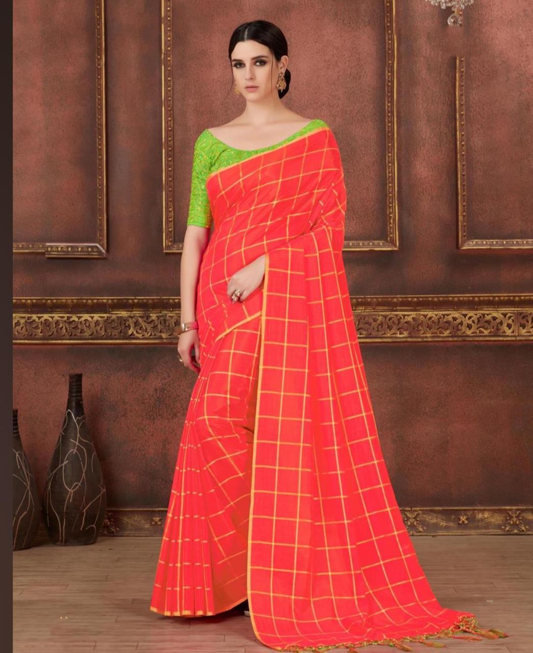 Printed Silk  Saree (Sari) in PeachPuff