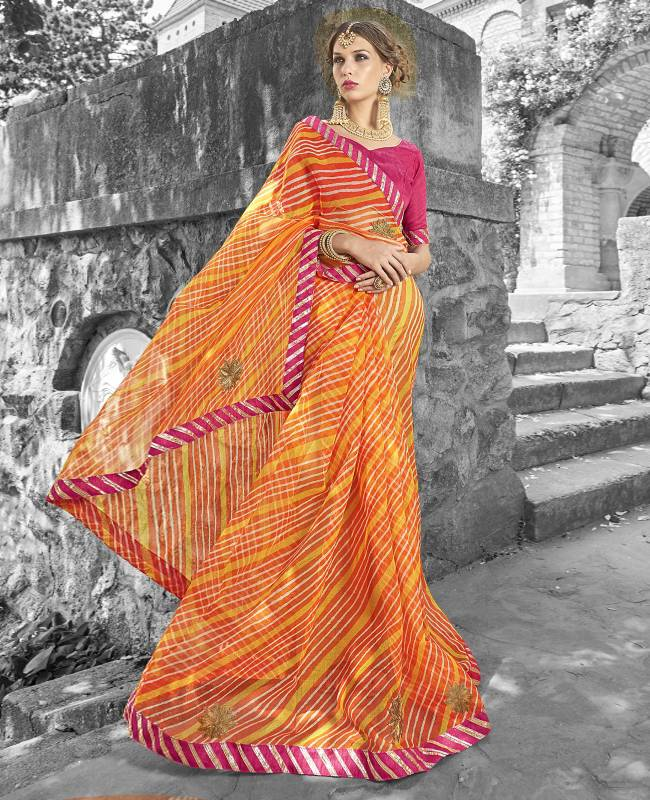 Lehriya Supernet Saree (Sari) in Yellow