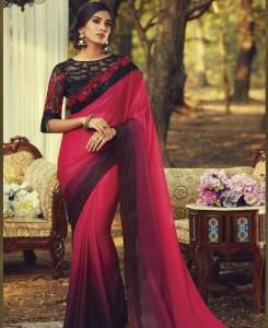 Lace Silk Saree in Tometo Red
