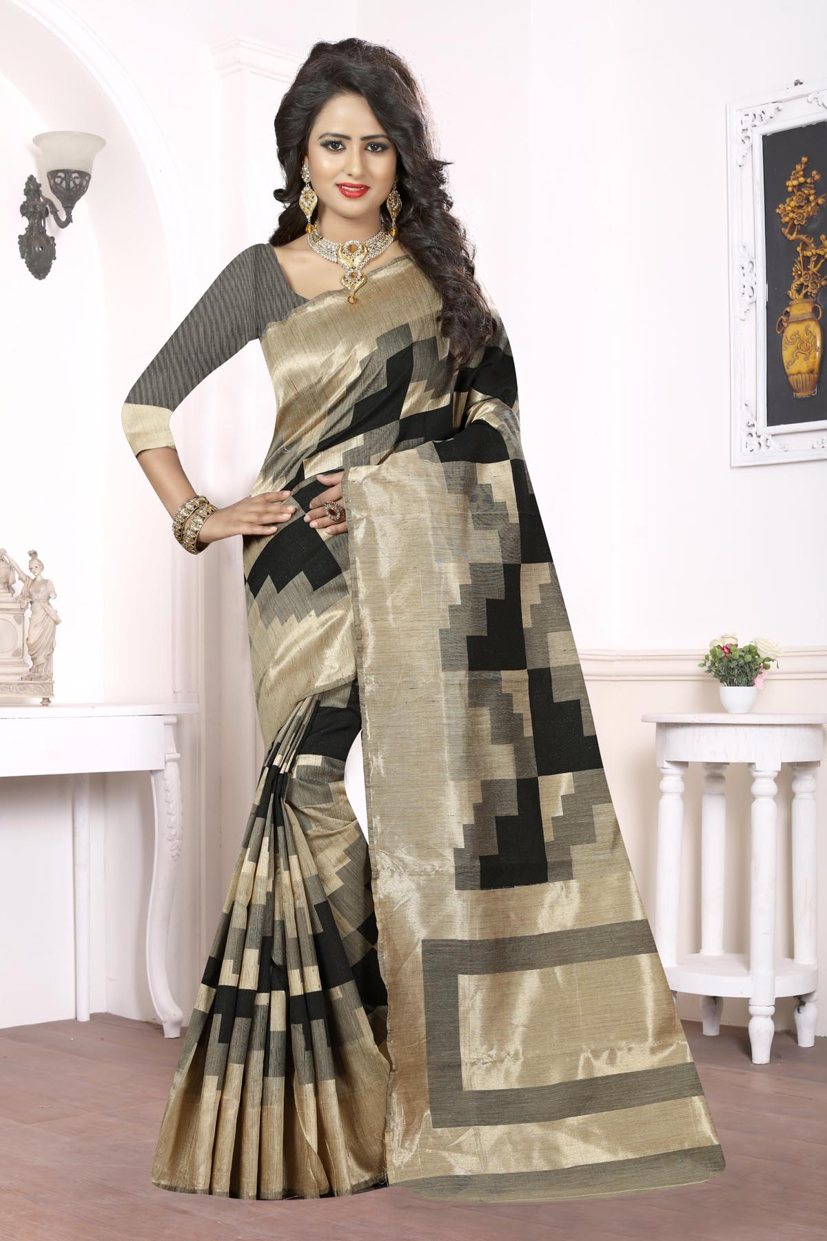 Printed Art Silk Saree (sari) in Black