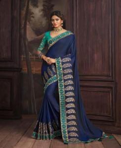 Lace Silk Saree in Blue