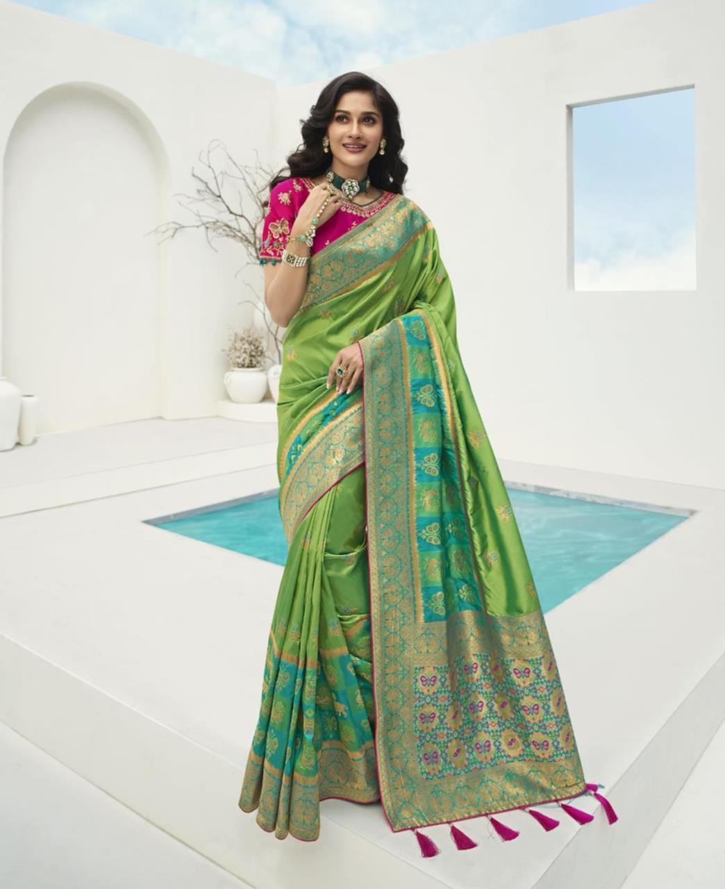 Stone Work Silk Saree in Green