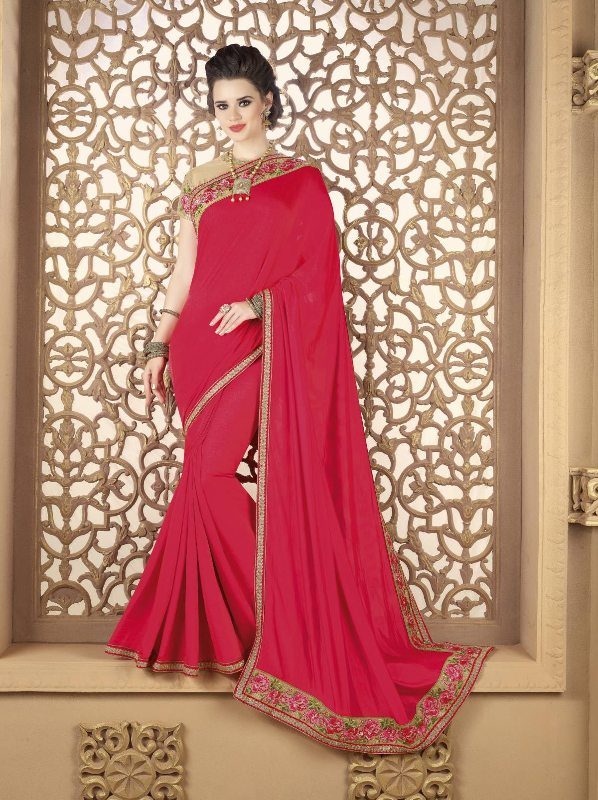 Embroidered Art Silk Saree (Sari) in Pink