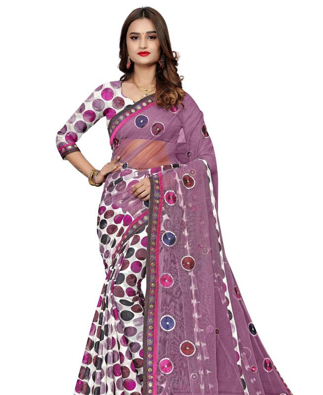 Printed Net Saree in Purple
