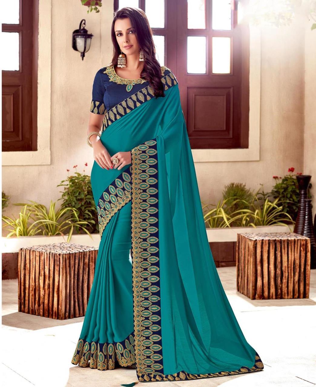 Embroidered Silk Blue Saree
