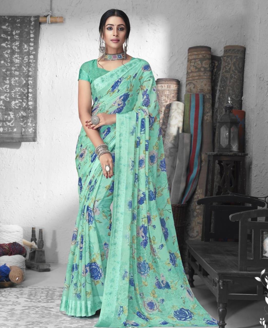 Printed Chiffon Saree in Green