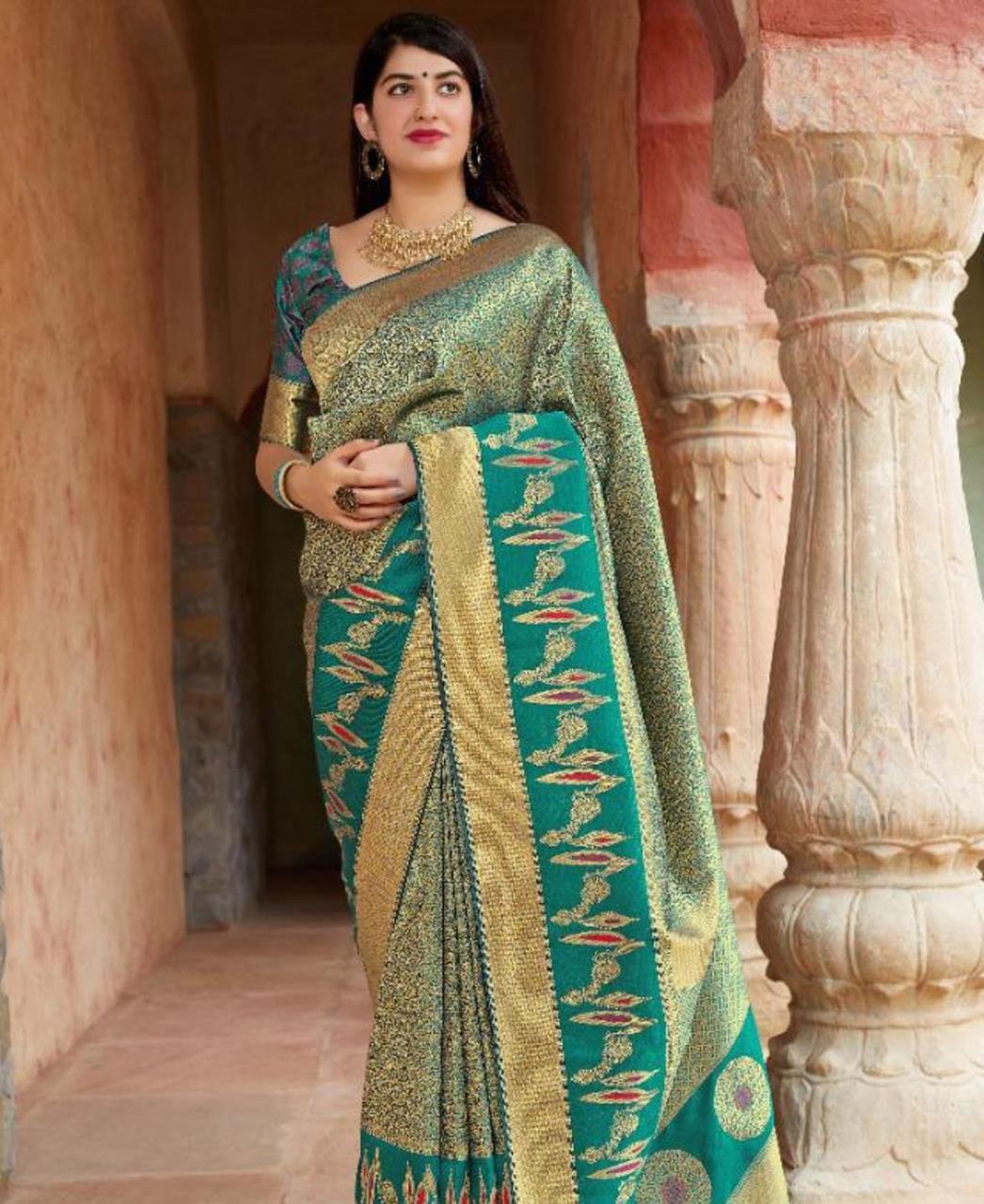 Woven Banarasi Silk Saree (Sari) in DARKCYAN