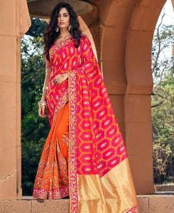 Embroidered Banarasi Silk Saree in Pink