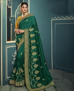 Lace Silk Saree in Green