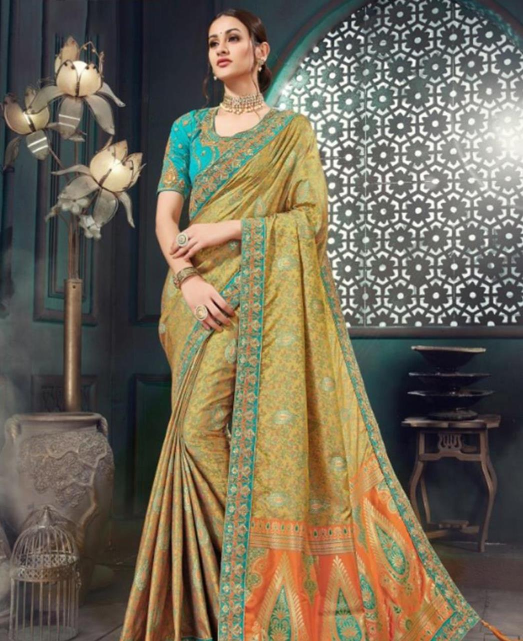 Embroidered Cotton Saree in Green