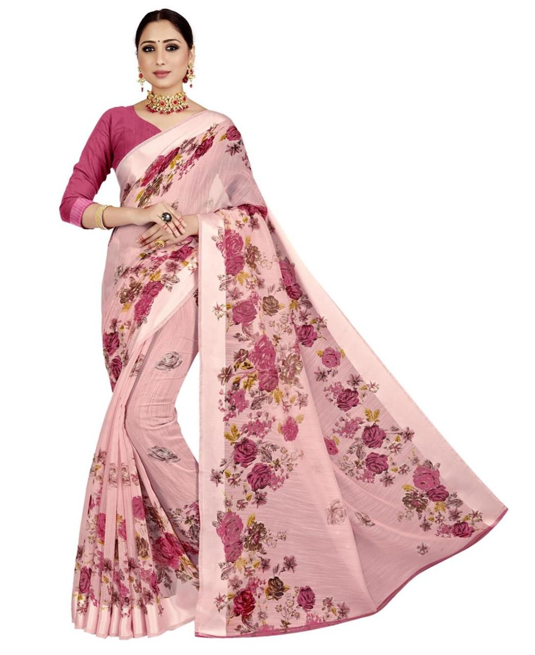 Printed Cotton Saree in Pink