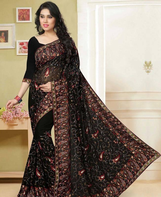 Embroidered Georgette Saree (Sari) in Black