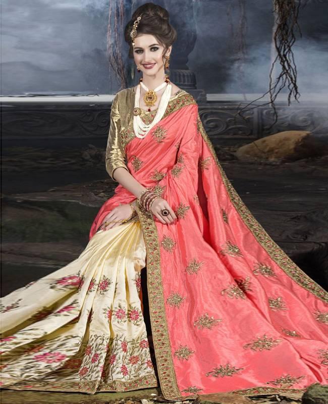 Embroidered Art Silk Saree (Sari) in Peach