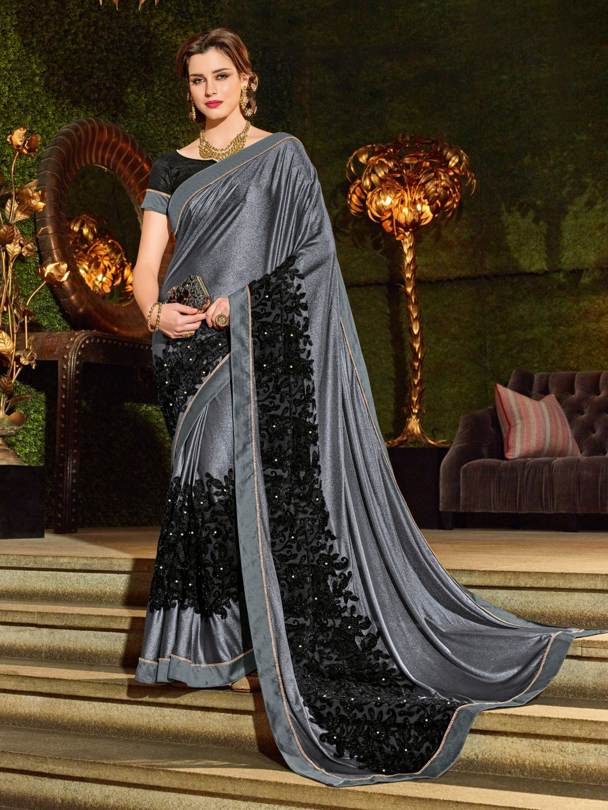 Embroidered Net Saree in Gray