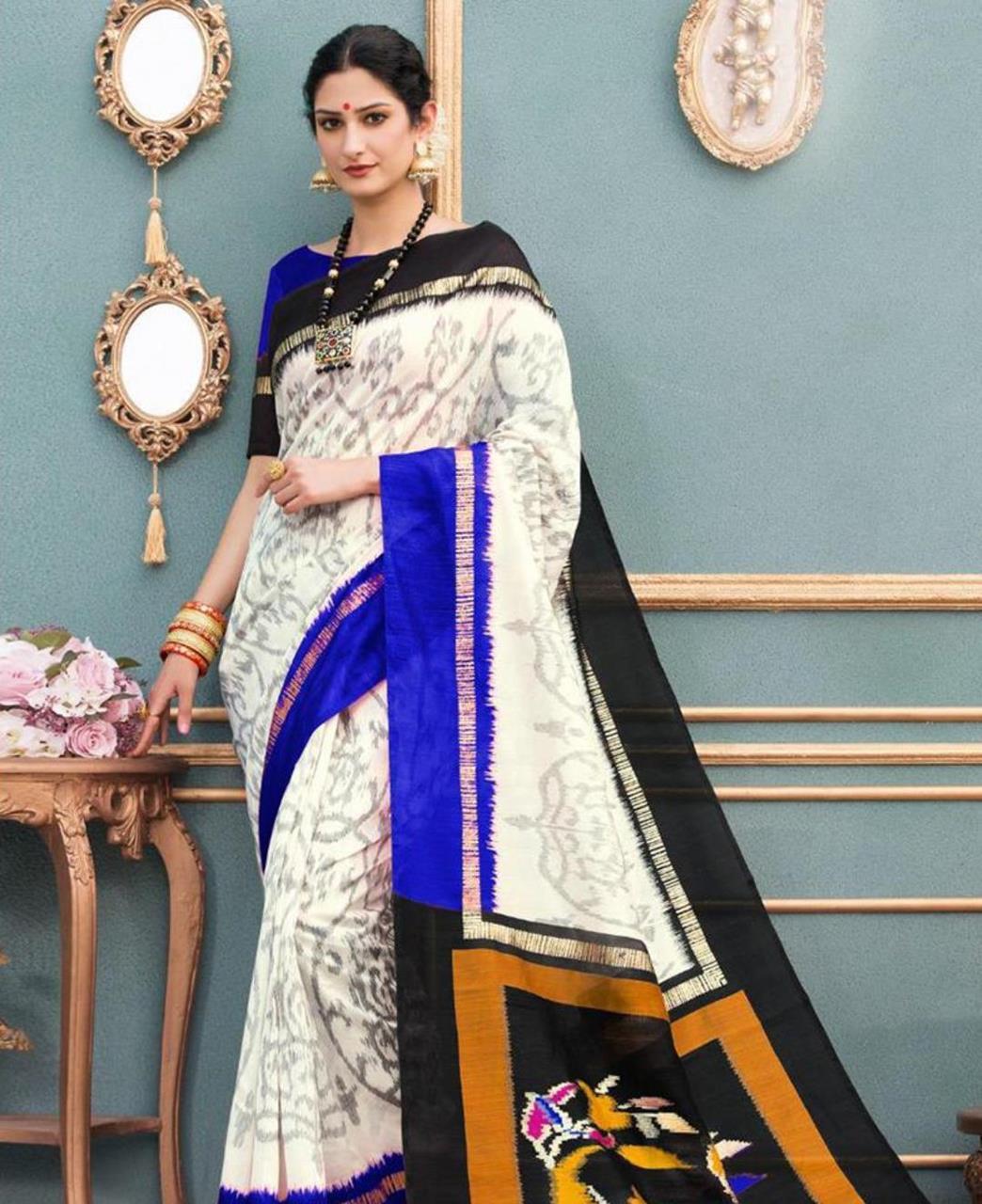 Printed Silk Saree in White
