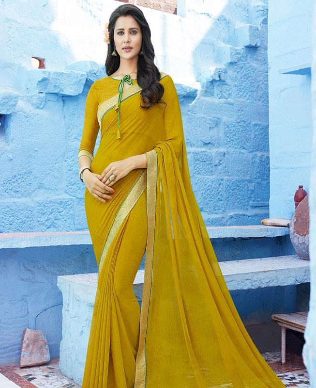 Printed Chiffon Saree (Sari) in OLIVE