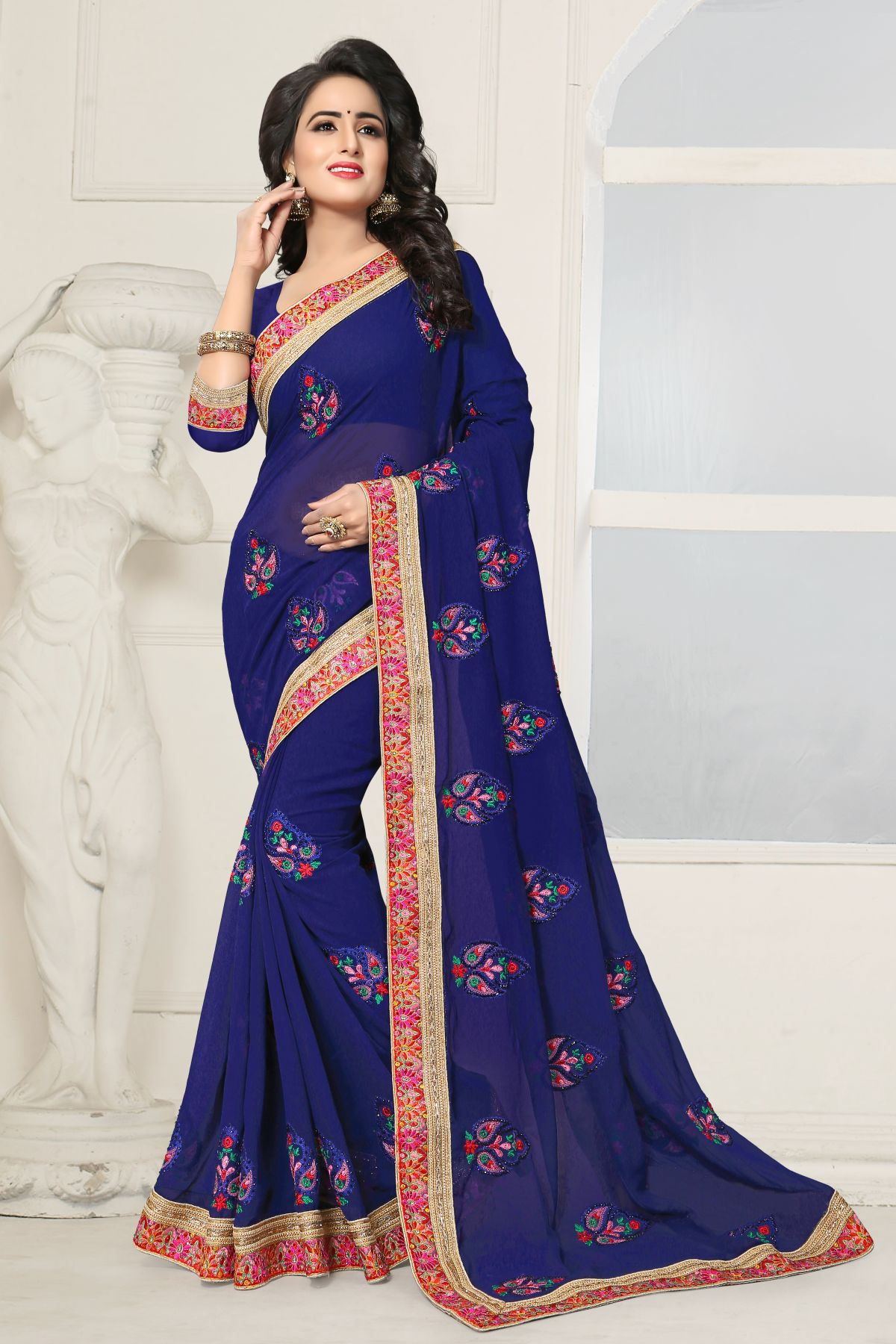 Embroidered Georgette Saree in Blue