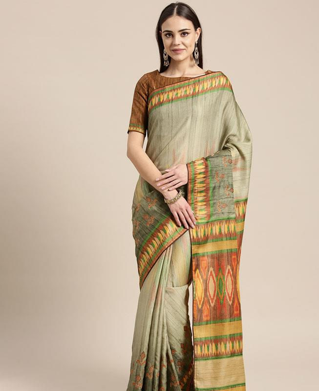 Satin Saree in Olive Green