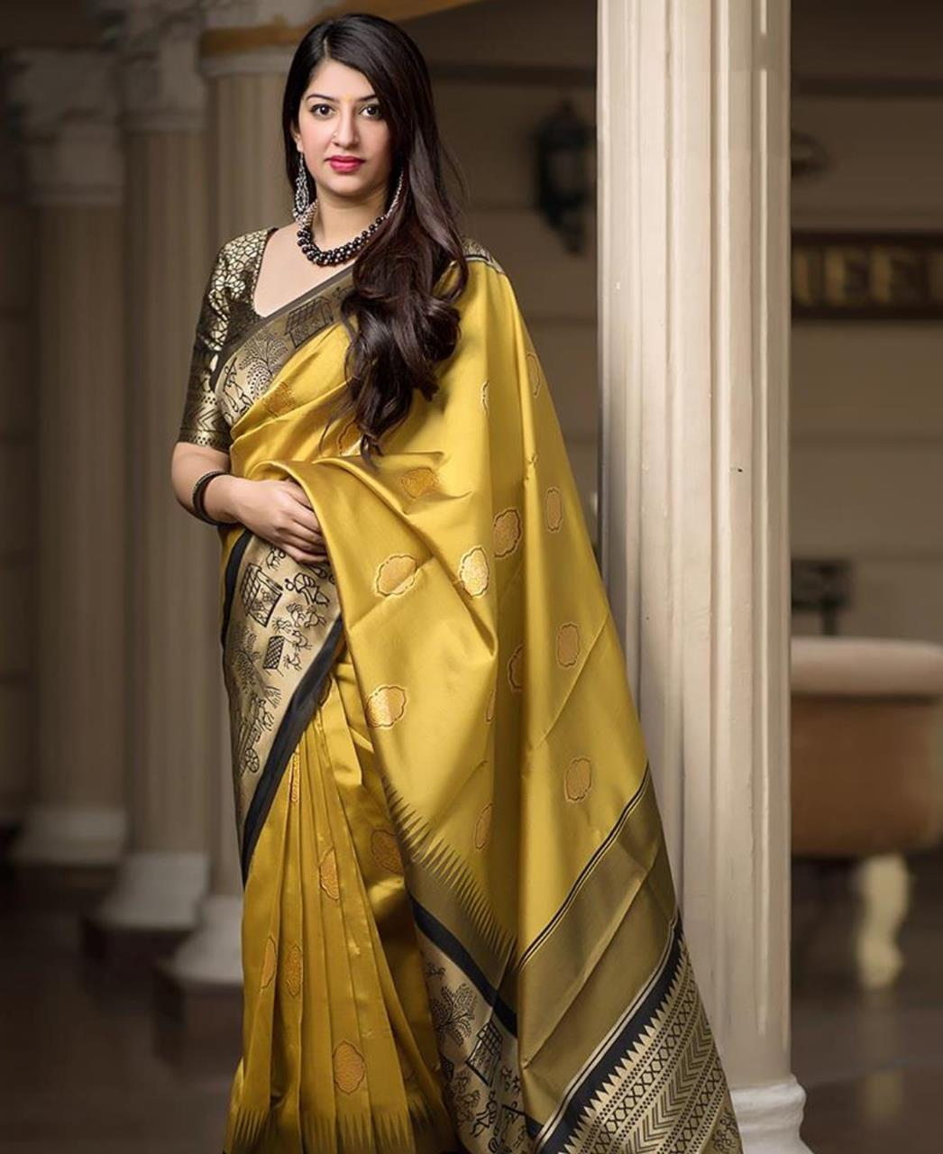 Woven Banarasi Silk  Saree (Sari) in Yellow