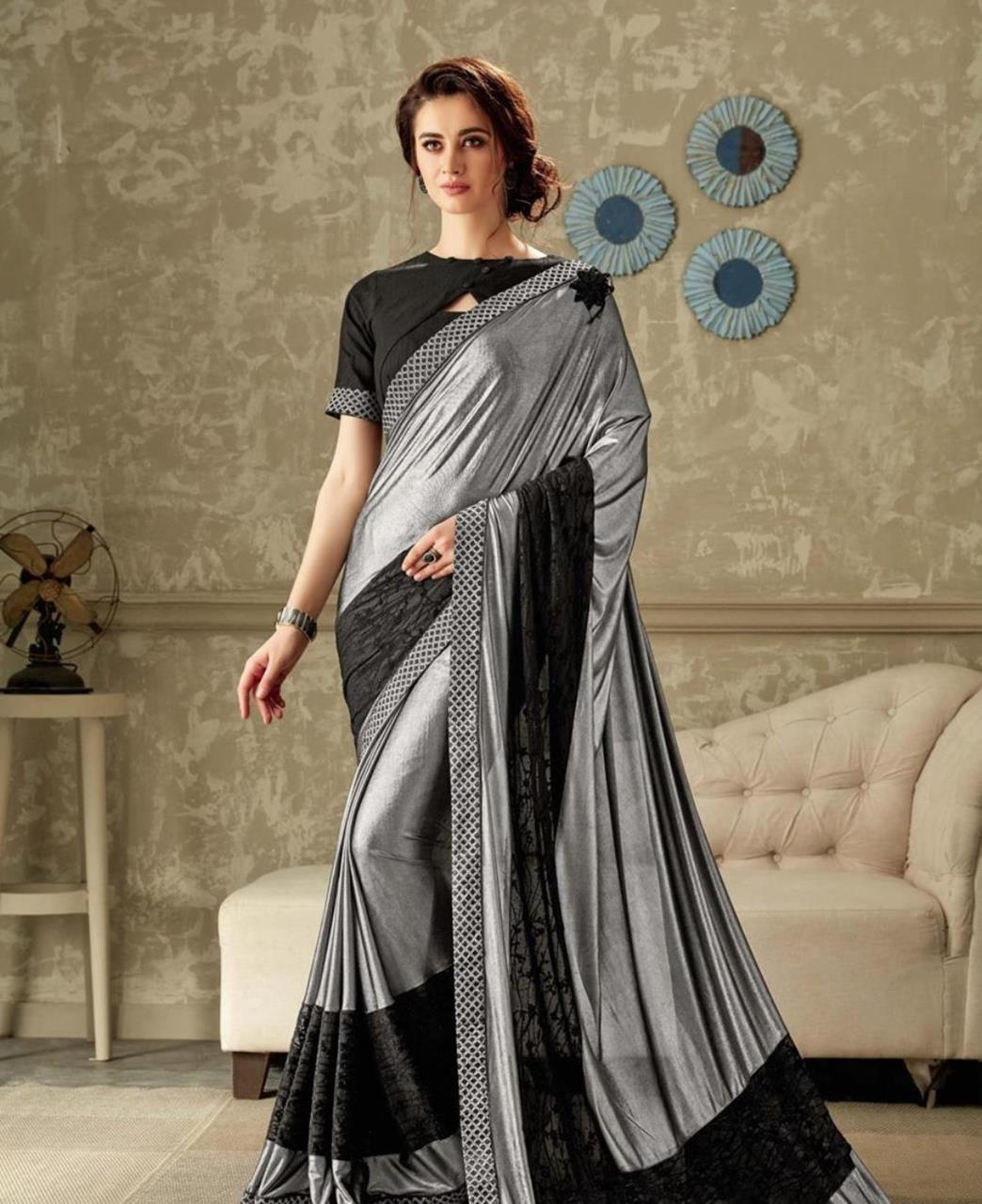 Embroidered Lycra Saree (Sari) in Gray