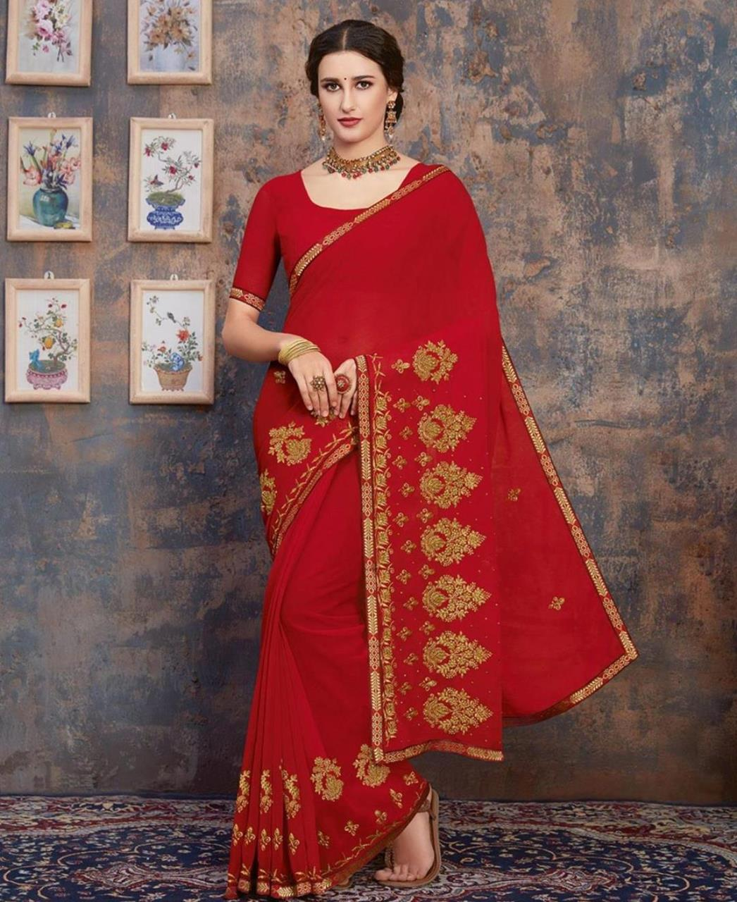 Stone Work Georgette Saree in Red