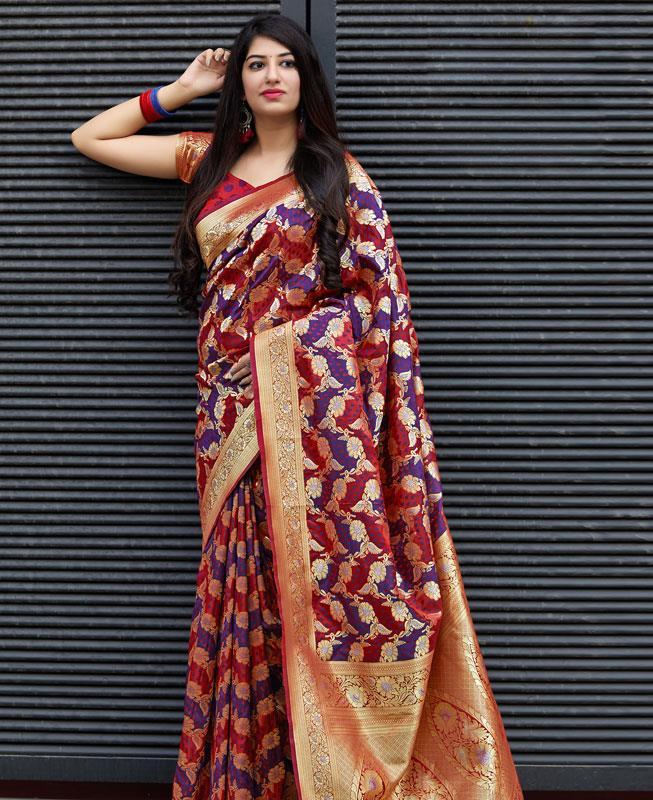 Woven Banarasi Silk Saree in Maroon