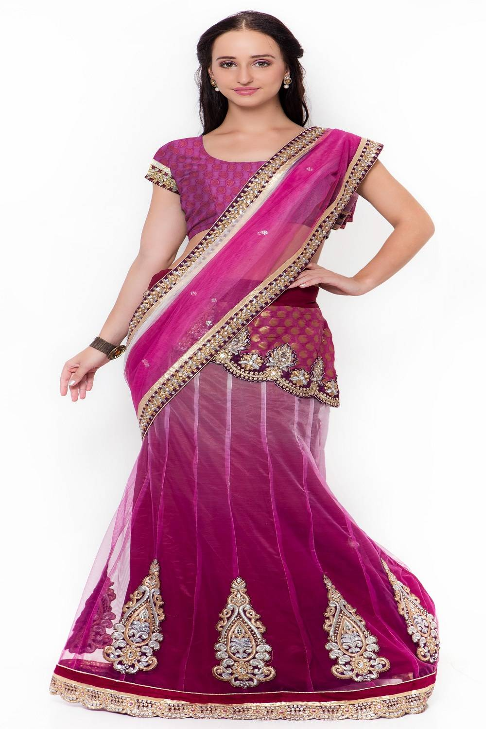 Embellishments Jacquard Saree (Sari) in Purple