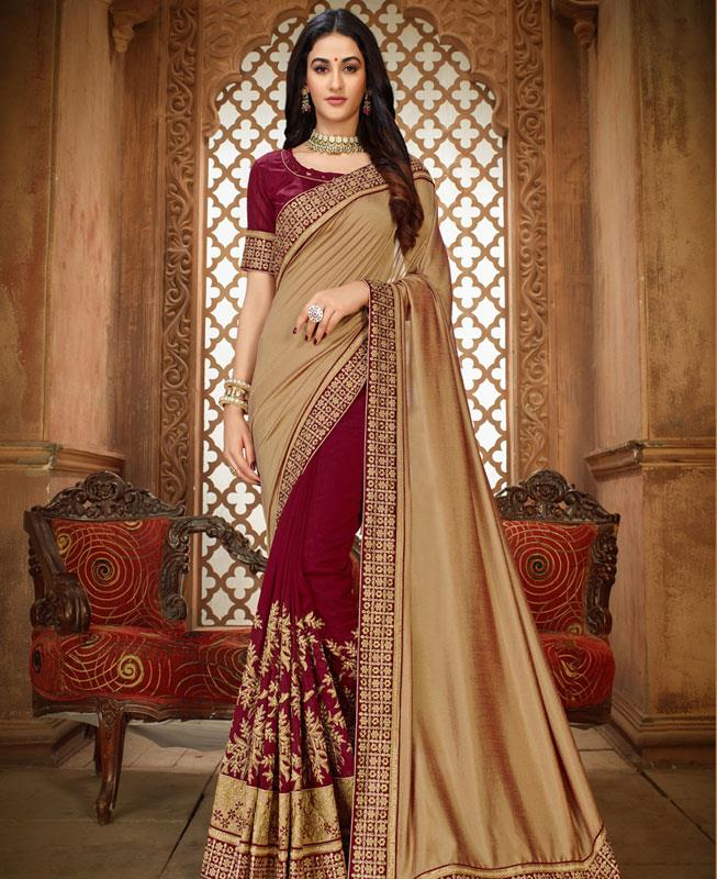 Embroidered Silk Saree in Gold